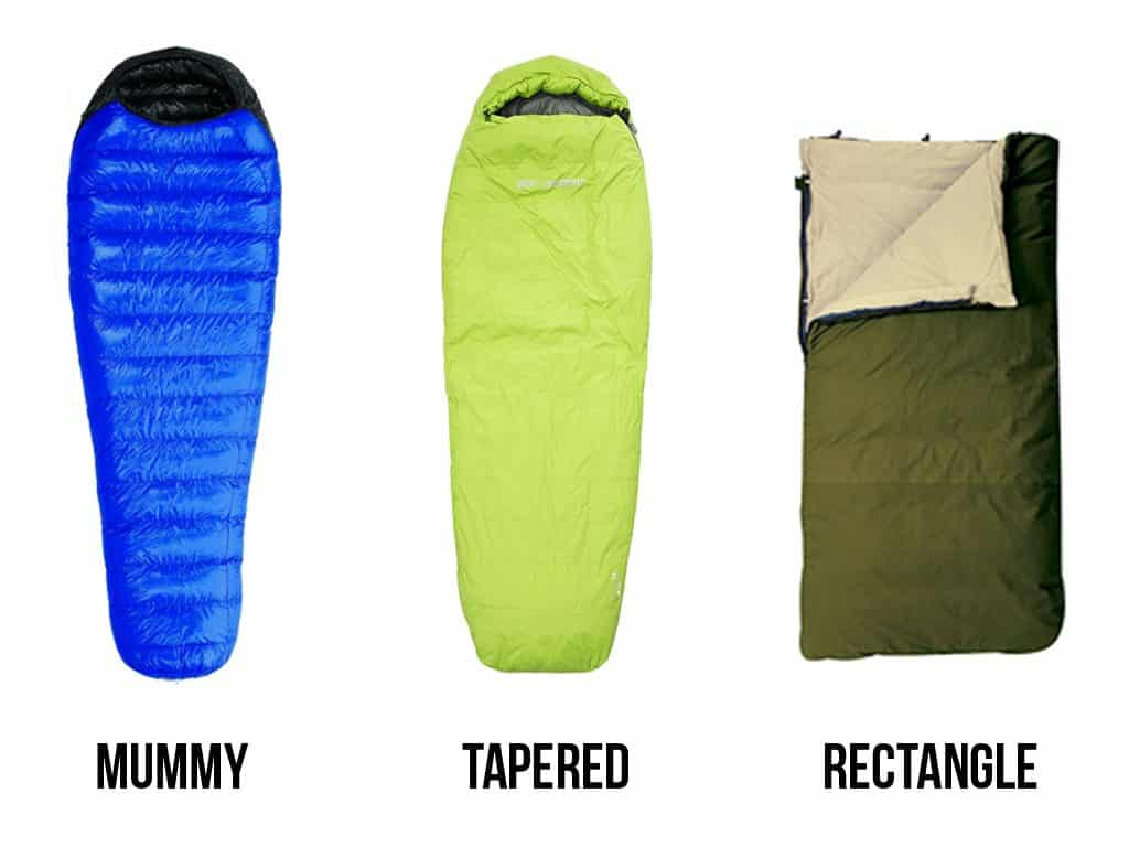 Top Backpacking Sleeping Bags shapes and sizes